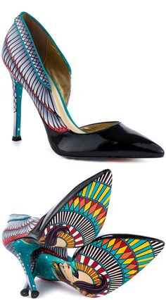 Taylor Says Farrah: Free Shipping and Returns, $149.99 Channel your inner Egyptian goddess with the Farrah. This royal Taylor Says pump features a Nile inspired upper with 4 1/4 inch heel and patent pointed toe. The stunning sole flashes a colorful Cleopatra portrait with stunning designs.