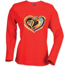 """Yes I know Laurel Burch is kind of an old lady thing ... but some of her stuff is so cute..Laurel Burch T Shirt """"Heart of My Heart"""" Red 