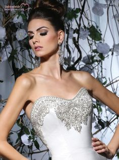 Detailed top of our fit & flare satin tulle gown. #tullebridal www.tullebridal.com