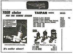 Hearns Hobbies 1960 Catalogue advertising Burford Taipans and the rarer Mk.4 Taipan 2.5cc diesel rear induction.