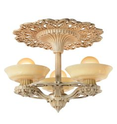 Rare Riddle 3060 Art Deco 3-Light Semi-Flush Fixture, c1931