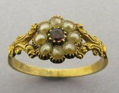 Boxed Antique GEORGIAN 18k 18ct Gold Pearl & Amandine Garnet Daisy Cluster Ring