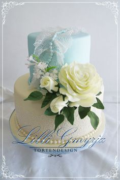 Powder Blue, Lace, Beads, and Roses wedding cake ~ all edible ~ perfect for Mother's Day!
