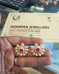 <br> vanasthalipuram ngos colony opposite to kotak mahindra bank. Gold Jhumka Earrings, Jewelry Design Earrings, Gold Earrings Designs, Gold Jewellery Design, Antique Earrings, Pendant Jewelry, Gold Jewelry, Antique Jewellery Designs, Durga