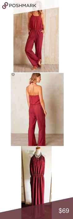 """$95 Prana Women Bijou Sunwashed Red Jumpsuit NWT L 100% other fibers Synthetic woven crepe Geo tribal inspired placement print on halter jumpsuit silhouette Smocked waistband for ease of fit 100% polyester  Measurements were laid flat Length from the pit to the bottom hem 54.5"""" Pit to pit approx 15"""" Waist relaxed approx 12 3/4"""" Inseam 31"""" Prana Pants Jumpsuits & Rompers"""