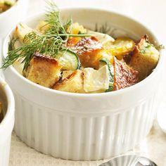 Zucchini-Brie Breakfast Casseroles.  Great summer breakfast dish.  I prefer serving casseroles in individual ramekins like this.