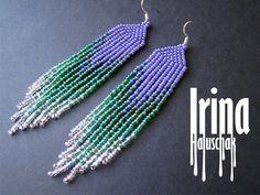 Purple, green and silver beaded earrings. Seed bead earrings. modern earrings, boho earrings, fringe earrings, beadwork jewelry, dangle by IrinaHaluschak on Etsy