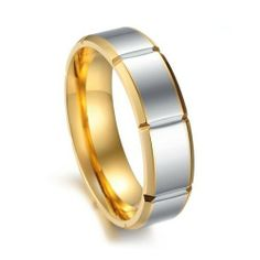 Fashion 316L Stainless Steel Gold Plated Love Couple Wedding Bands Mens Ladies Ring for Engagement/Promise/Eternity/Anniversary Tungsten Love. $8.99. Different Sizes Available; Width: 6mm for male; 4mm for female; Thickness: 1mm; List price is for one ring only. Purchase two rings for a matching set.; 316L Stainless Steel; Weight: 5g for male; 3g for female
