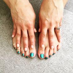 """Mermaid"" mani/pedi -- nude on top, mermaid tail on the bottom. Mani Pedi, Pedicure, Beauty Solutions, Moving Day, Opi, Summer Nails, Nail Ideas, Nail Colors, Fall Fashion"