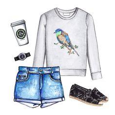 Bird print sweatshirt, denim shorts, espadrilles