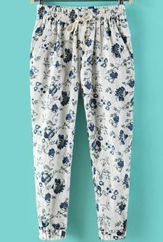 To find out about the White Elastic Waist Floral Loose Pant at SHEIN, part of our latest Pants ready to shop online today! Stylish Dress Designs, Stylish Dresses, Stylish Outfits, Swag Outfits For Girls, Girl Outfits, Drape Pants, Fashion Pants, Fashion Outfits, How To Hem Pants