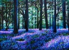 Items similar to Print 8 x Bluebell Woods, forest, landscape painting, Nature on Etsy Forest Landscape, Fantasy Landscape, Fairy Tree, Tree Tree, Forest Silhouette, Enchanted Wood, Woodland Art, Forest Painting, Acrylic Painting Canvas