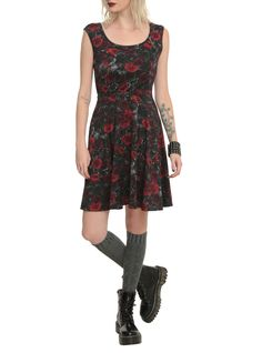 Black And Red Rose Dress | Hot Topic