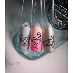 Ideas for nails white matte blue Love Nails, Pretty Nails, Flamingo Nails, Geometric Nail, Geometric Prints, Manicure E Pedicure, Manicure Ideas, Perfect Nails, Spring Nails
