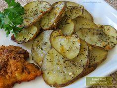 Baked Sliced Garlic Potatoes
