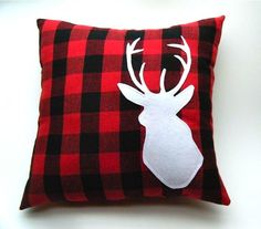 Deer Pillow on Red and Black Plaid Fabric