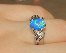 blue fire opal Cz ring Gemstone silver jewelry Sz 8.25 modern engagement  ME4