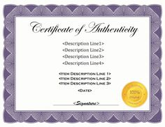 A template for creating a certificate of authenticity. Free downloads at http://mycertificatetemplates.com/download/certificate-of-authenticity/