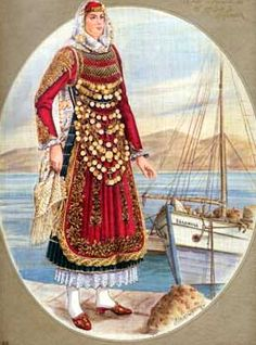 Salamina is accros from Megara.see the resemblance? Greek Traditional Dress, Traditional Outfits, Ancient Greek Costumes, Greek Royalty, Greek Culture, Greek Clothing, Folk Costume, Dance Dresses, Dance Costumes