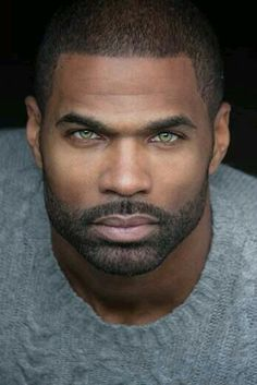 Green eyes are the rarest of them all. And on a handsome black man . Gorgeous Black Men, Handsome Black Men, Gorgeous Eyes, Black Man, Black Guys, He's Beautiful, Pretty Eyes, Hommes Sexy, Moustaches