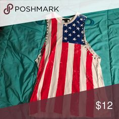 USA Shirt Top with american flag. Good condition. Only worn twice Forever 21 Tops Tank Tops