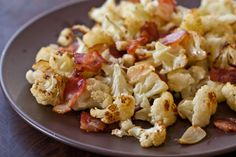 Roasted Cauliflower with Bacon and Garlic - Steamy Kitchen Recipes Garlic Recipes, Bacon Recipes, Vegetable Recipes, Great Recipes, Low Carb Recipes, Cooking Recipes, Favorite Recipes, Healthy Recipes, Dinner Recipes