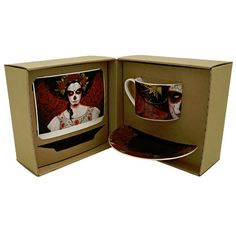Limited Edition Tea/Coffee Cup & Saucers | Artist: Sylvia Ji. | Included inside the presentation box is an artist signed & sequentially numbered art print, plus a certificate of authenticity with Artist Bio. | Image 6 of 6