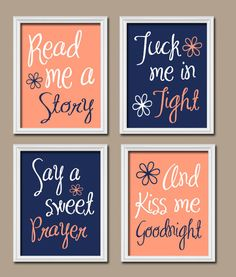 Navy Peach Nursery Read Me A Story Baby Girl Nursery by TRMdesign