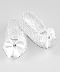 Another great find on #zulily! White Bow Crochet Booties by Pink and Blue Knitwear #zulilyfinds