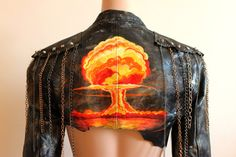 Post Apocalyptic Hand Painted Leather Jacket Sexy by WastedCouture