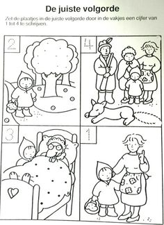 Werkblad: leg de prenten in de juiste volgorde Traditional Tales, Traditional Stories, Red Riding Hood Party, Fairy Tale Activities, Wolf, Picture Story, Fall Crafts For Kids, Kid Rock, Creative Activities