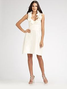 Amsale. Ruffled Halter Silk Dress. How cute would this be with a hat? At the Derby?