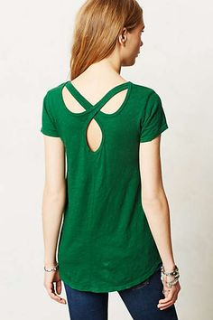 Love this tee with the criss cross detail in the back. I also love that bright green.