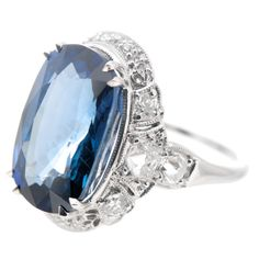 Art Deco  Blue Sapphire Platinum Ring | From a unique collection of vintage engagement rings at https://www.1stdibs.com/jewelry/rings/engagement-rings/
