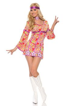 #HIPPY HIPPIE FLOWER POWER 1960s GIRLS FANCY DRESS ADULT ONE SIZE COSTUME