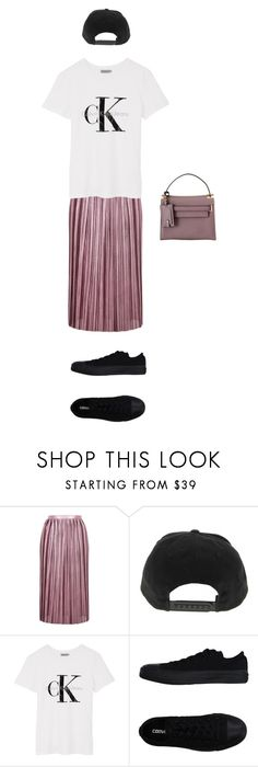 """""""Black, White, and... Mauve"""" by rubyilunga ❤ liked on Polyvore featuring Topshop, Calvin Klein, Converse, Valentino, outfit, tomboy and contestentry"""