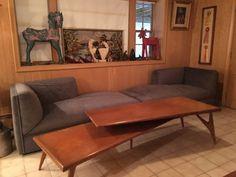 Found on EstateSales.NET: Tiered Mid Century Coffee Table, Modern Sofa