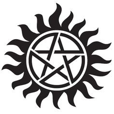 [Single Count] Custom and Unique Inches) Round Supernatural Magical Pagan Anti Possession Pentagram Sun Symbol Iron On Embroidered Applique Patch {Black and Red Colors} Supernatural Fans, Supernatural Anti Possession Tattoo, Supernatural Pentagram, Anti Possession Symbol, Supernatural Tattoo, Supernatural Wallpaper, Spn Tattoo, Demon Possession, Supernatural Crafts