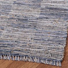 Hand-woven Blue Jeans Checkered Denim/ Hemp Rug (4' x 6') | Overstock.com