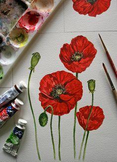 Poppies Botanical watercolor Original Painting by jodyvanB