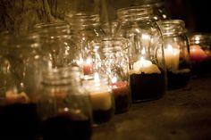 Recycled jars. Kara + Kenn | October 6, 2012 | @Lost River Cave | Photographer Alex Slitz
