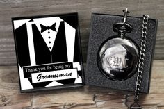 SALE - Personalized Pocket Watch with Message Card - Wedding Gifts for Best Man - Groomsmen - Ushers - Father of Bride and Groom