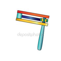 Purim noisemaker. Colorful wooden noisemaker isolated on white background. Purim noisemaker toys. Vector Purim Jewish traditional symbols. — Stock Vector © sofiartmedia.gmail.com #131082198