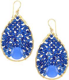 Panacea Wire-Wrapped Beaded Hoop Earrings, Blue on shopstyle.com