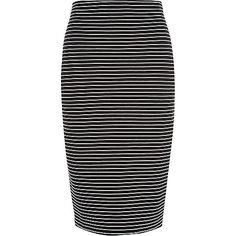 Black stripe pull on pencil skirt - skirts - sale - women