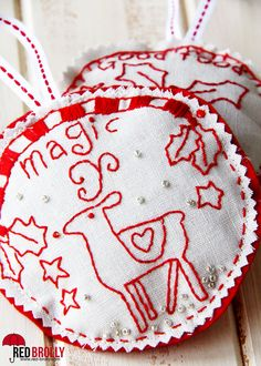 6 DIY Embroidered Christmas Ornaments