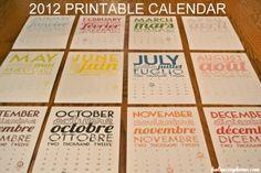2012 calendar printables
