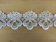 White Venise Lace with metallic silver threading Vintage Item Circa 1980's ***Real Venise lace  Sold by the yard