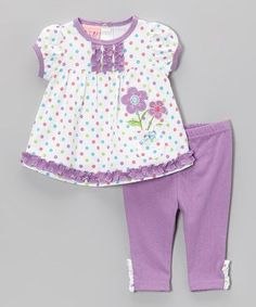 Take a look at this Purple Polka Dot Daisy Tunic & Leggings - Infant by Weeplay Kids on today! Baby Dress Design, Baby Girl Dress Patterns, Newborn Girl Dresses, Little Girl Dresses, Sewing Kids Clothes, Baby Sewing, Baby Pants Pattern, Baby Girl Shirts, Kids Frocks Design