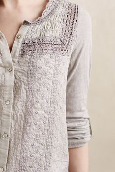 I like cool textures on my clothes for interest instead of crazy patterns.  Smocked Eyla Buttondown | Anthropologie